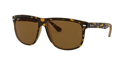 Ray-Ban RB4147 Boyfriend Square Sonnenbrille, (Tortoise/Crystal Brown Polarized), 60 mm