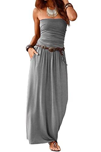 Ancapelion Damen Blumenmuster Maxikleid Langes Kleider Bandeau Kleid Böhmen Sommerkleid Trägerloses Strandkleid Elegante Abendkleid (Einfarbig-Grau, XL)
