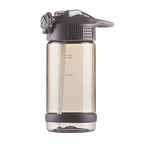 Botella de Agua sin BPA de 500 ml / 800 ml, Estudiante, Botella Espacial portátil, Botella Deportiva de plástico para Mujer, Botella de Paja para niños, Color café, 500 ml