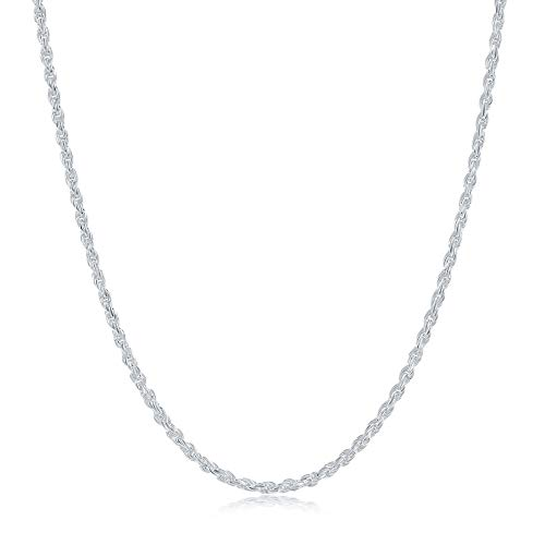 Sterling Silver Diamond Cut High Polished 1mm Italian Twisted Rope Chain Necklace 16'-24' (22)