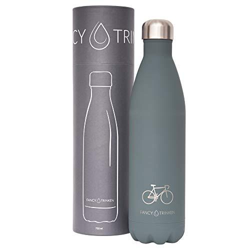 Fancy Trinken Thermosflasche, Edelstahlflasche, Trinkflasche, Outdoorflasche, Yogaflasche, Thermosflasche, doppelwandig isoliert 750 ml Soft Touch (Grau - Fahrrad)