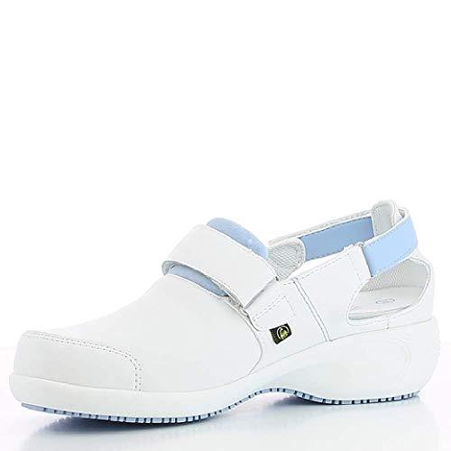 Oxypas Move Up Salma Slip-resistant, Antistatic Nursing Shoes, White/Blue (Light Blue), 4 UK (37 EU)