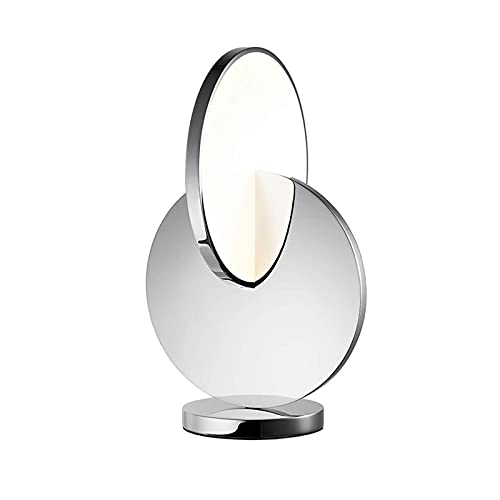 JR2021FF Lámpara de Mesa LED Lámpara de Escritorio de Metal Circular Luz Redonda Negro Negro Blanco Lámpara de Cama Regulable para Sala de Estar Dormitorio Lámpara de Mesa