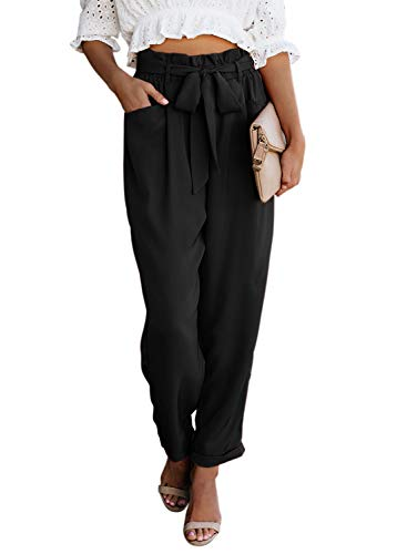 Zecilbo Women's Fashion High Waist Pencil Trouser Skinny Pants with Belt Black Small
