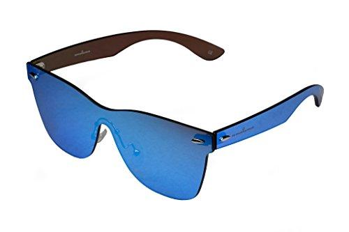 amoloma Rahmenlose Randlose Nur Glas Sonnenbrille Blau verspiegelt für Damen und Herren