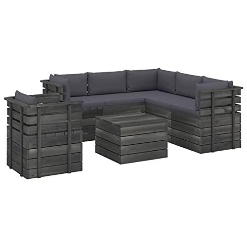Tidyard Conjuntos Sofa Exterior Patio Muebles de jardín de palets 13# 7 pzas Cojines Madera Maciza Pino