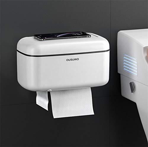 jjh Caja de papel higiénico impermeable para baño, caja de papel higiénico montada en la pared, caja de almacenamiento para productos de baño, papelera de cocina (color: blanco)
