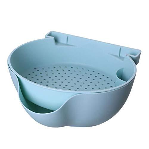 Colador de frutas para lavar platos, colador de arroz, cesta de drenaje de verduras, cesta de drenaje de cocina de doble capa de plástico para el hogar (color: 01)