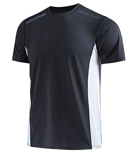 Herren Sport-T-Shirt Stretch Tee Raglan-Ärmel Laufen Gym Bodybuilding Sportlich T Shirts