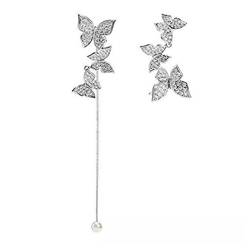 ZSDFW Pendientes colgantes para mujer con borlas de mariposa de asimetría, colgantes de temperamento, pequeños aretes de aro para fiesta