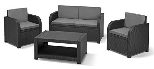 Allibert by Keter Modena Gartenmöbel Set aus Kunststoff, inkl. Sitzkissen, grau, 4-teilig, 2 Sessel, Sofa & Tisch, für Garten, Balkon & Terrasse, flache Rattanoptik