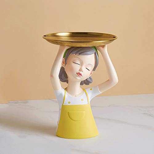 WYFDC Bandeja de fruta para esculturas de niña, modelo de almacenamiento, accesorios para decoración del hogar, decoración moderna (color: amarillo)