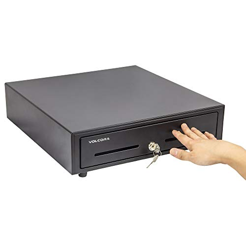 16' Manual Push Open Cash Register Drawer for Point of Sale (POS) System, Black Heavy Duty Till with 5 Bills/8 Coin Slots, Key Lock with Fully Removable Money Tray and Double Media Slots