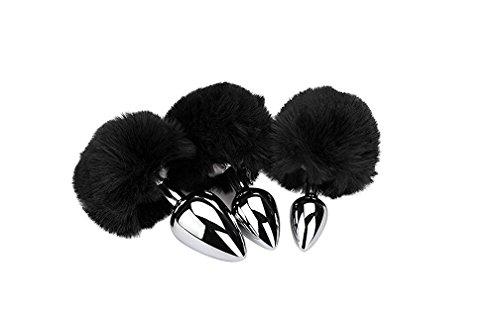 BONDAGERIE® Pompon nero, varie misure, con plùg in acciaio
