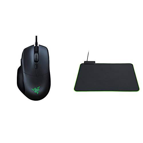 Razer Basilisk Essential Gaming Mouse: 6400 DPI Optical Sensor - Classic Black & Goliathus Chroma Gaming Mousepad: Customizable Chroma RGB Lighting - Soft, Cloth Material - Classic Black