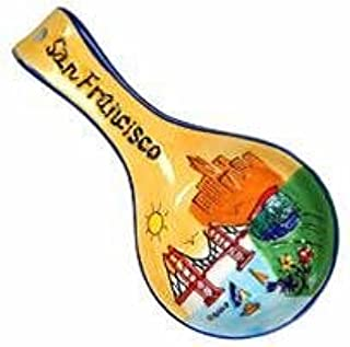 CM San Francisco Kitchen Spoon Rest Yellow With Colorful Images With Copyrighted CA Bear Magnet