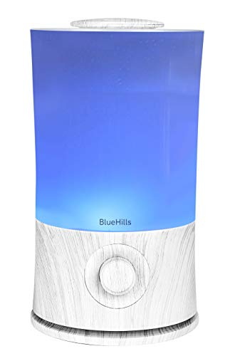 BlueHills Premium 2000 ML XL Large Essential Oil Diffuser Aromatherapy Humidifier for Large Room Home 40 Hour Run Huge Coverage Area Lights 2 Liter Extra Large Capacity Diffuser White Wood Grain E004