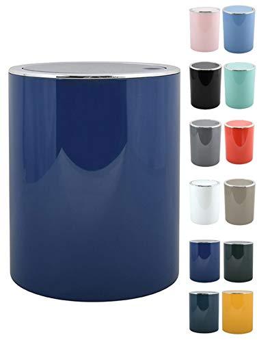MSV Bad Serie Aspen Design Kosmetikeimer Bad Treteimer Schwingdeckeleimer Abfallbehälter mit Schwingdeckel 6 Liter (ØxH): ca. 18,5 x 26 cm Pastell Dunkelblau