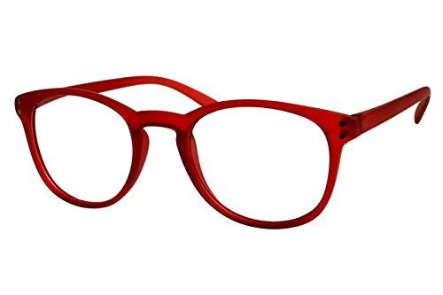 Lesebrillen Damen Herren leuchtend rot matt transparent große runde Gläser sehr leicht runde ovale Form schmale Bügel Lesehilfe Sehhilfe 1.0 1.5 2.0 2.5 3.0 3.5, Dioptrien:Dioptrien 2.0