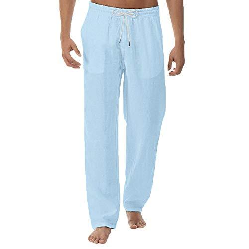 N\P Pantalones de verano y algodón puro y lino para hombre