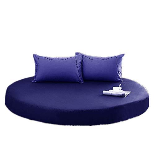YFYJ 100% Baumwolle Bettlaken Runde Atmungsaktive Blätter Tagesdecke für Matratze Mit 2m/2.2m Durchmesser Komfortable, Gesunde Bettwäsche für Hotels Marine 1.8m Durchmesser
