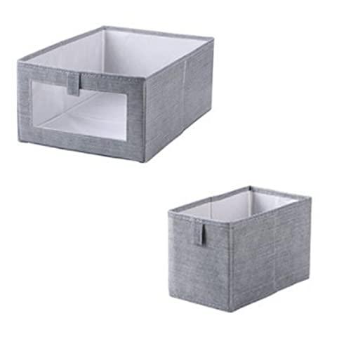 Parshall 2 cajas de almacenamiento plegables de tela, cesta de lavandería, organizador de ropa, contenedores a prueba de polvo, a prueba de humedad para libros, mezcla de hogar