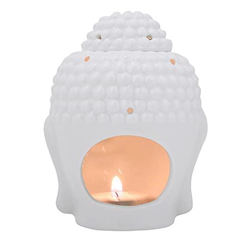 HERCHR Candelero de cerámica de la luz del té, lámpara de la Fragancia del Calentador de la Cera de la hornilla del Aceite Esencial de Buda