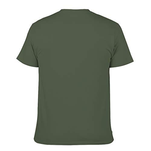 Gloden Dog on The Beach - Camiseta de algodón para hombre, cuello redondo, estilo informal Dark Green001. S