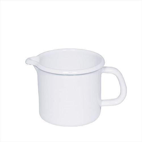 Riess 0040-033 Schnabeltopf - Milchtopf mit Henkel - Emaille - weiß - Ø 12cm - 1 Liter