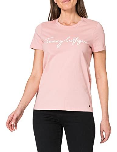 Tommy Hilfiger Crew Neck Graphic tee Camiseta sin Mangas para bebs y Nios pequeos, Rosa calmante, M para Mujer