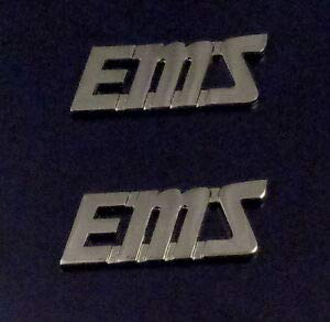 EMS Silver Script/Slanted 1/2' Letters Collar Pins Emergency Medical Services