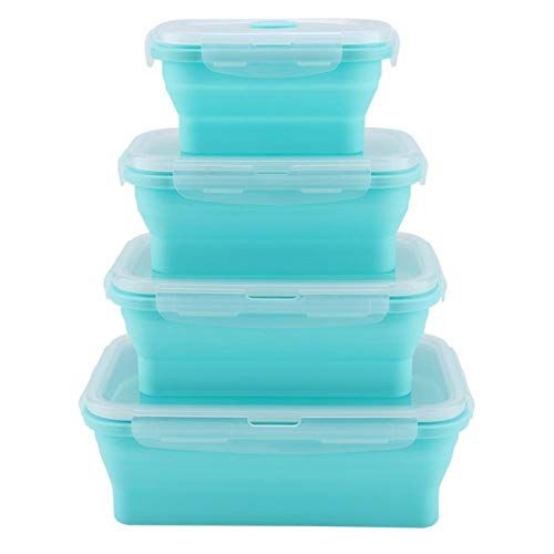 Hyuduo Juego de contenedores de Almacenamiento de Alimentos, lonchera Segura para congelador de microondas Plegable de Silicona, Juego de 4 Piezas, lonchera de 350/500/800/1200 ml(Menta Verde)