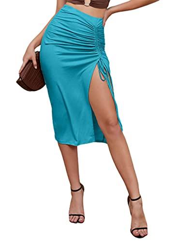 Avanova Women's High Waist Drawstring Side Split Midi Skirt Sexy Party Club Skirt Blue Large