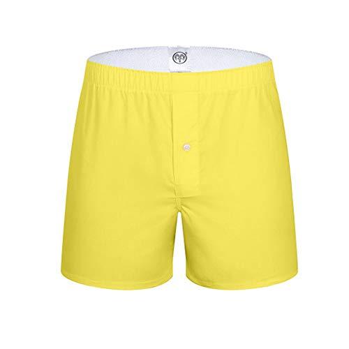 YUHUALI Pfeile der Männer gedruckt Stoff einfarbig Boxer Hosen Hosen Shorts gelb XL