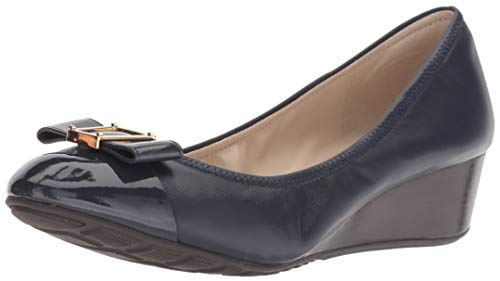 Cole Haan Women's Emory Bow Wedge (40MM) Pump, Marine Blue Leather, 7.5 B US