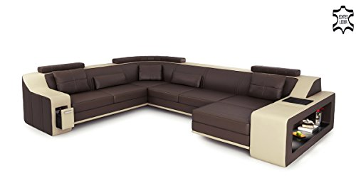 Bullhoff by Giovanni Capellini Leder Couch Sofa braun/beige U-Form XXL Wohnlandschaft Ledersofa Ledercouch Ecksofa mit LED-Licht Beleuchtung Berlin
