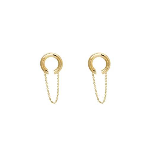 Yhhzw Pendientes De Clip De Oro Con Cadena Para Orejas Para Mujeres Niñas Sin Clip De Oreja Perforada Accesorio De Joyería Estética