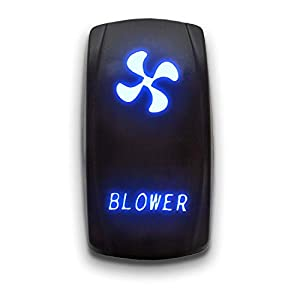 BLOWER - Blue - STARK 5-PIN Laser Etched LED Rocker Switch Dual Light - 20A 12V ON/OFF