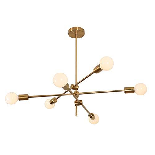 RUXMY Sputnik Kronleuchter, 6 Kopf Moderne verstellbare Arme Mitte Jahrhundert halb eingebettete Pendelleuchte für Esszimmer Wohnzimmer Schlafzimmer Kaffee