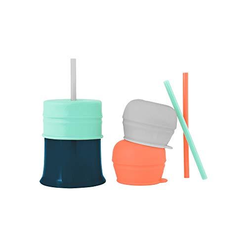 Boon Snug Straw - Tapas y taza de silicona universales para pajita (3 unidades), color menta