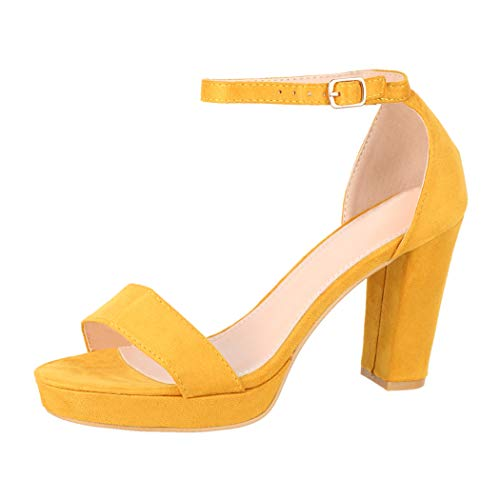 Elara Damen Pumps High Heels Chunkyrayan WW100 Yellow-39