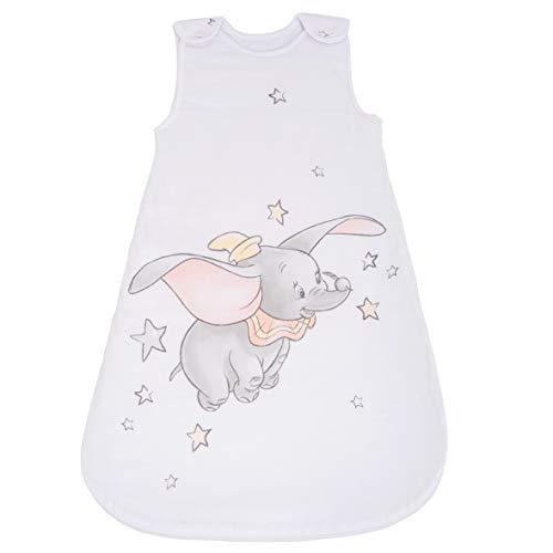 Herding DISNEY DUMBO Baby-Schlafsack, 70 cm, Seitlich umlaufender Reißverschluss und Druckknöpfe, Weiß