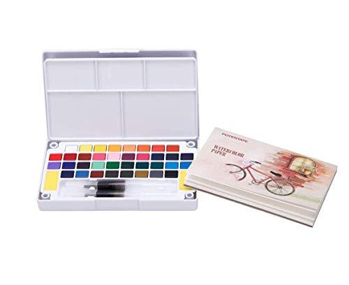 WoYu Caja de Acuarelas, 36 Colores Juego de Pintura de Acuarela + 2 Pinceles para Tanque de Agua + 2 Esponja + 12 Papeles Acuarela-Pinturas para Niños o Profesionales