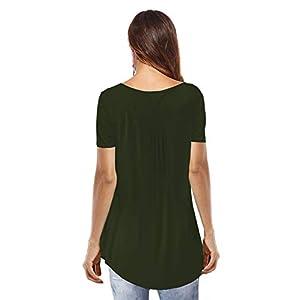 Sarin Mathews Womens Shirts Casual Tee Shirts V Neck Short Sleeve Botton up Tunic Tops Blouses Army Green M