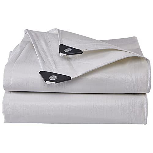GYL Lonas Durable, Impermeable, Protección Solar, Rip, Lona con Ojales Metálicos y Bordes Reforzados, Cubierta de Lona de Polietileno Multiusos, Blanca (Size : 2 * 5m/6.5 * 16.4ft)