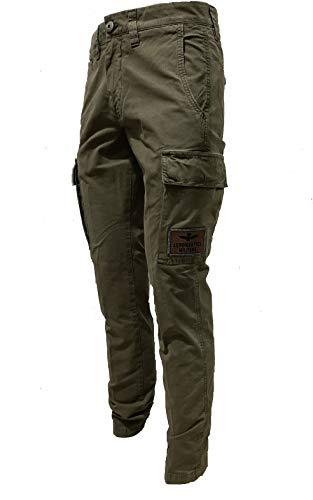 Aeronautica Militare Pantalón PA1437CT verde militar para hombre, cargo y bolsillo, Verde, M