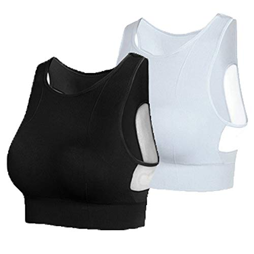 IMAGL Sports Bras for Women Full Coverage Sports Bra Low Impact Removable Padded Workout Bras - Yoga Pilates Gym (XL Black+White)