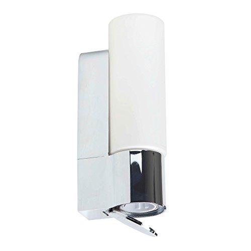 Lightbox Applique murale pour salle de bain en métal et verre avec prise intégrée 1ampoule E14max. 40W Protection IP44 Chrome / Blanc