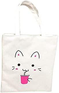 Gimax Shoulder Bags - Aelicy Women's Cute Cartoon Cats Printed Shopping Handbag Ladies One Shoulder Canvas Bags Female Beach Bag Sac A Main - (Color: White)