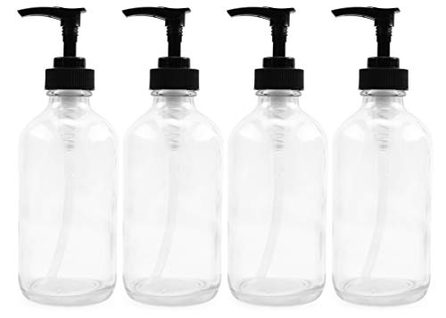 8oz Clear Glass Pump Bottles (4-Pack w/Black Plastic Pumps), Great as Essential Oil Bottles, Lotion Bottles, Soap Dispensers, and More